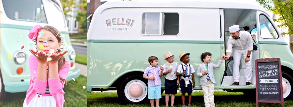 Hello Ice Cream Vintage Truck Italian Style Ice Cream Frozen Treats